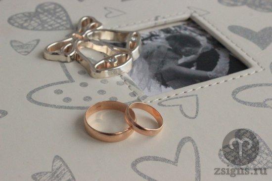 zolotye-obruchalnye-kolca-na-svadebnom-fotoalbome